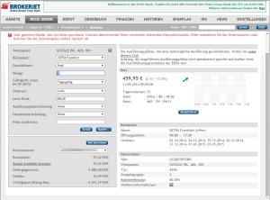 So können Sie bei Brokerjet eine Aktie kaufen. In diesem Fall wird eine Google Aktie an der Börse in Frankfurt gekauft.