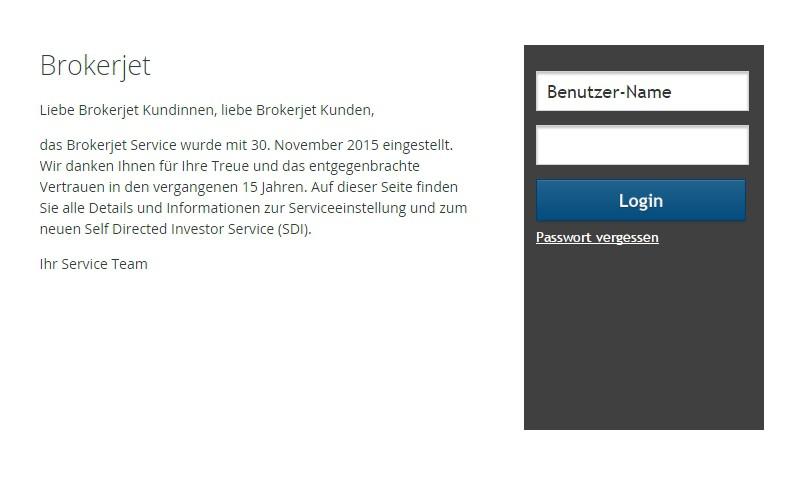 Ruft man brokerjet.at auf, so wird auf eine Unterseite der Erste Bank weitergeleitet. Dort erhält man die Info, dass Brokerjet Geschichte ist.