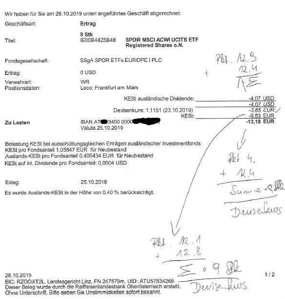Abrechnung bei Flatex der ausschüttungsgleichen Erträge beim ETF