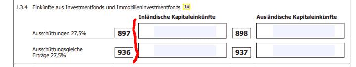 Einkünfte aus Investmentfonds und Immobilienfonds - inländische Kapitaleinkünfte